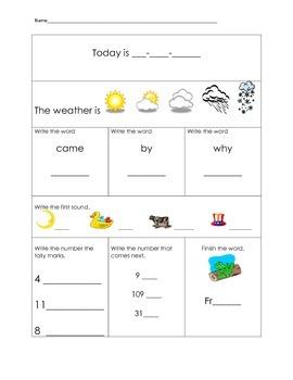 1st Grade Morning Work Packet Part 2