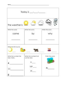 1st Grade Morning Work Packet Part 2