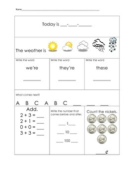 1st Grade Morning Work Packet Part 3