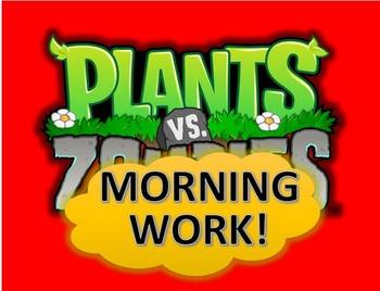 1st Grade Morning Work - Plants Vs. Zombies Theme