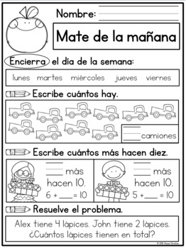 1st Grade Morning Work in Spanish / Trabajo de la mañana