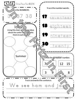 1st Grade Morning Workbook  1-20