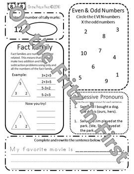 1st Grade Morning Workbook 81-100