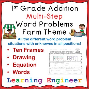 1st Grade Math Center: Multi-Step Addition Word Problems