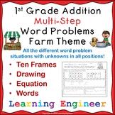 1st Grade Addition Word Problems - Multi step