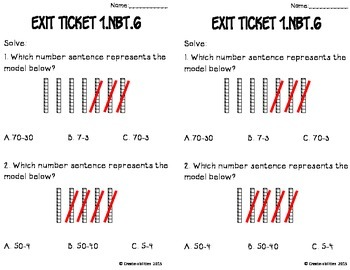 Subtract Multiples of 10 Math Tasks and Exit Tickets