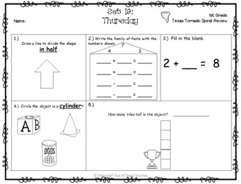 1st Grade NEW TEKS Texas Tornado Spiral Review Part 3: Sets 19-24 POD & Calendar