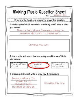Instruments vibrate & make sound! Sort + Reflection sheet 1st NGSS (1-PS4-1)