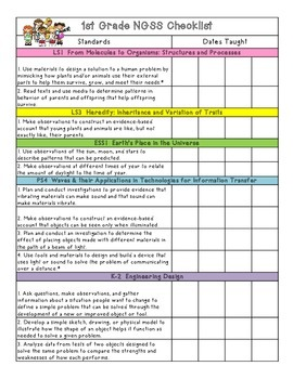 1st Grade NGSS Standards Checklist