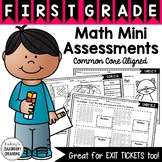 Math Mini Assessments / Exit Tickets ~ 1st Grade ~ Common Core!