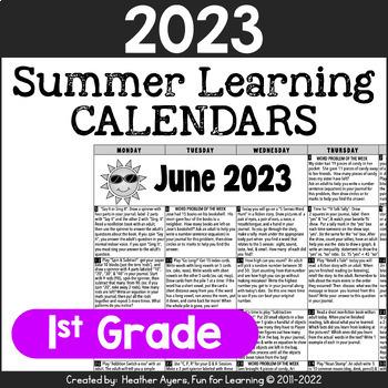 2019 1st Grade NO PREP Summer Calendars