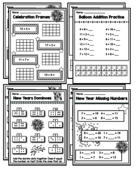 1st Grade New Years 2018 Math Packet