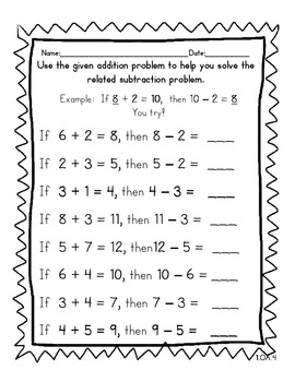 1st Grade No Prep CCSS Operations &Algebraic Thinking Worksheets
