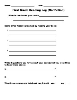 1st Grade Non-Fiction Reading Log