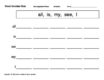 1st Grade Non-Negotiable English Word Weekly Writing Practice Program (FREE)