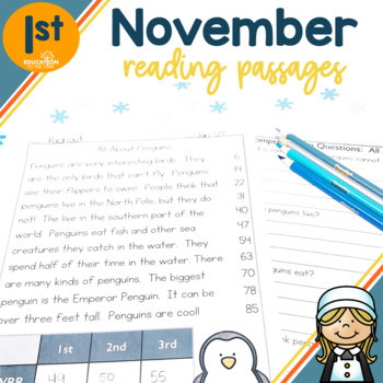 1st Grade Fluency Passages for November
