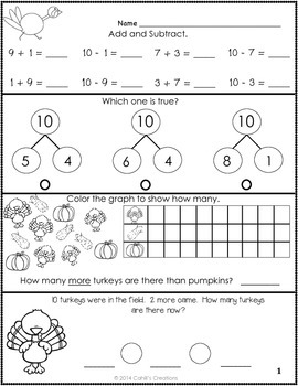 1st Grade November Math Journal