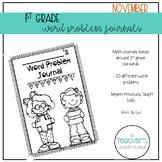 1st Grade November Math Word Problem solving