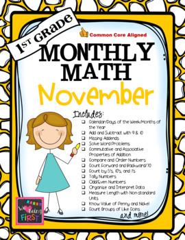 1st Grade Monthly Math for November
