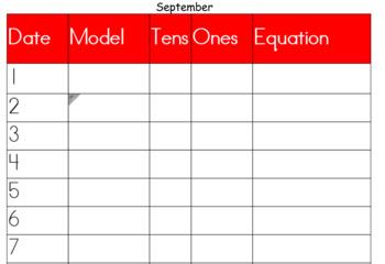 1st Grade Number Corner, Sept. and Oct. Calendar Grid Observations