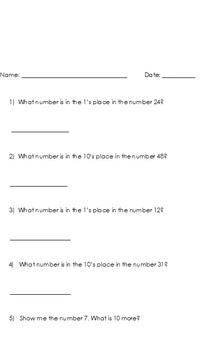 1st Grade Number Sense Assessment