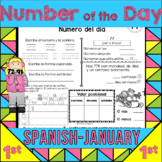 1st Grade Number of the Day for January in Spanish PRINT and GO