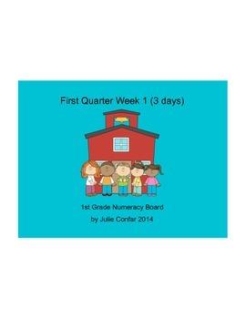 Ohio Common Core 1st Grade Numeracy Board First Quarter, F