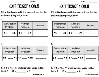 Subtraction Unknown Addend Math Tasks and Exit Tickets