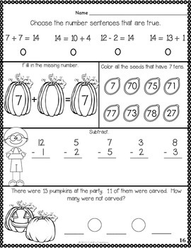 1st Grade October Math Journal