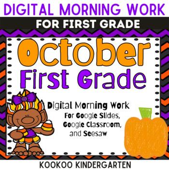 1st Grade October Morning Work for Google Classroom