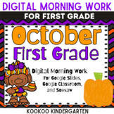 1st Grade October Morning Work for Google Classroom