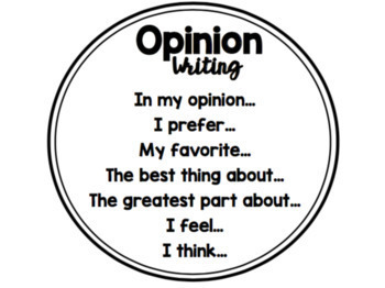 1st Grade Opinion Writing