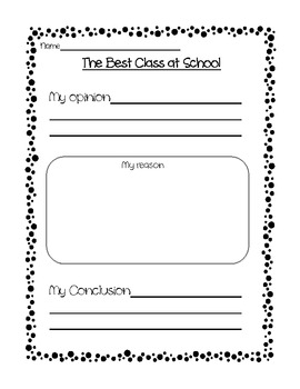 1st Grade Opinion Writing Packet