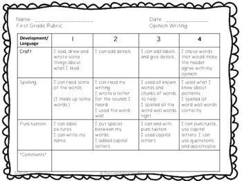 1st Grade Opinion Writing Rubric/Checklist (Adapted from Lucy Calkin)