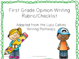 1st Grade Opinion Writing Rubric/Checklist (Adapted from L