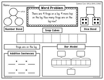 1st grade addition bar model math center by bite size teaching tpt. Black Bedroom Furniture Sets. Home Design Ideas