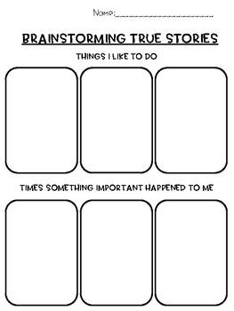 1st Grade Personal Narrative Supplements