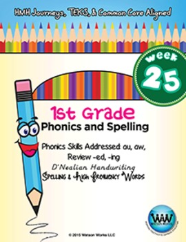 1st Grade Phonics and Spelling D'Nealian Week 25 (au, aw, -ed, -ing)