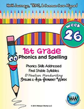 1st Grade Phonics and Spelling D'Nealian Week 26 (Final Stable Syllables)