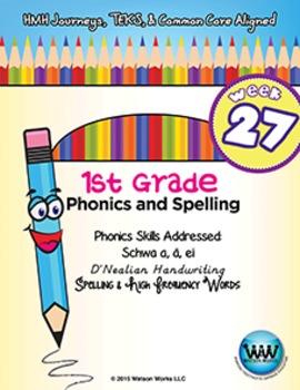 1st Grade Phonics and Spelling D'Nealian Week 27 (schwa a, ä, ei) {TEKS-aligned}