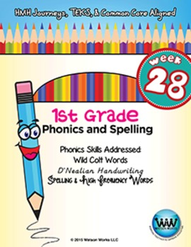 1st Grade Phonics and Spelling D'Nealian Week 28 (Wild Colt Words)