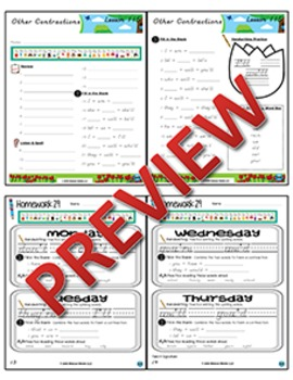 1st Grade Phonics and Spelling D'Nealian Week 29 (Contractions) {TEKS-aligned}