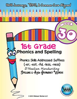 1st Grade Phonics and Spelling D'Nealian Week 30 (-er, -es