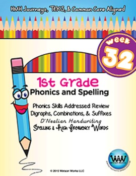1st Grade Phonics and Spelling D'Nealian Week 32 (Review) {TEKS-aligned}