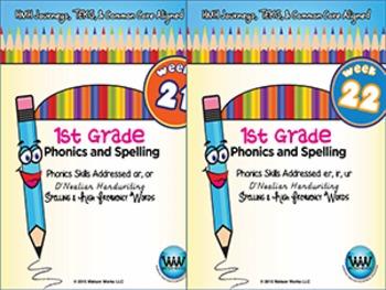 BUNDLE: 1st Grade Phonics and Spelling D'Nealian (Weeks 19-24) {TEKS-aligned}