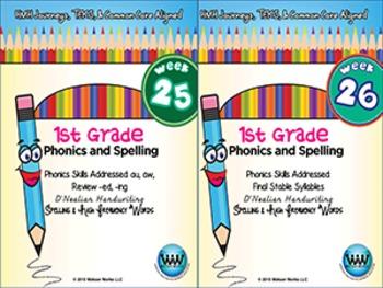 BUNDLE: 1st Grade Phonics and Spelling D'Nealian (Weeks 25-32)