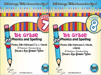 BUNDLE: 1st Grade Phonics and Spelling D'Nealian (Weeks 7-12)