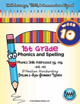 1st Grade Phonics and Spelling D'Nealian Week 10 (ng, -ing, -ed, -es)