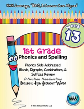 1st Grade Phonics and Spelling D'Nealian Week 13 (Review)