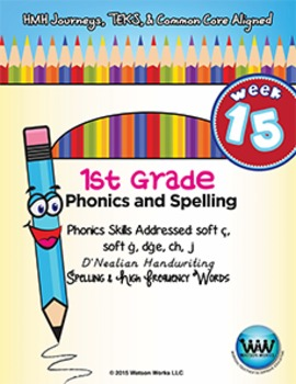 1st Grade Phonics and Spelling D'Nealian Week 15 (soft c, soft g, dge, ch, j)